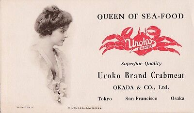 "WINIFRED -1910s UROKO BRAND queen of sea-food  "" FLAPPER/gibson  GIRL""  blotterr"