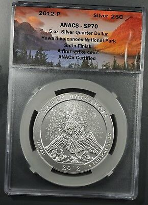 2012-P ANACS SP70 5oz SILVER HAWAII VOLCANOES AMERICA THE BEAUTIFUL FIRST STRIKE