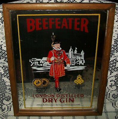 VINTAGE 1970s 'BEEFEATER' LONDON DISTILLED DRY GIN MIRROR 26.5x21.5cm