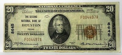 1929 $20 Dollar The Second National Bank Of Houston Texas Charter# 8645