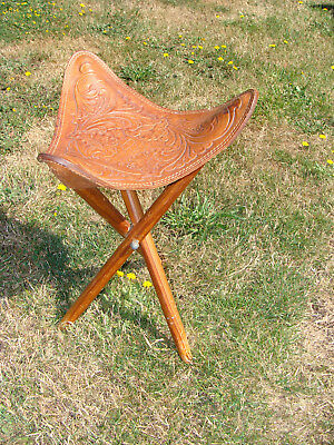 Vintage Tooled Western Leather Cowboy Camp Stool that Breaks Down Small