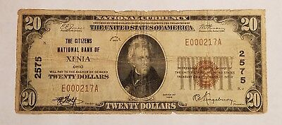 1929 The Citizens National Bank of Xenia Ohio OH 2575 $20 National Banknote