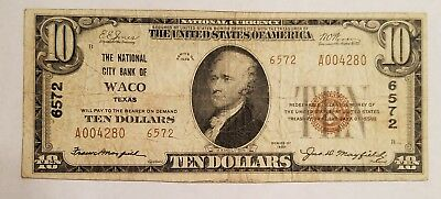 1929 National City Bank of Waco, Texas TX 6572 $10 National Banknote Fine