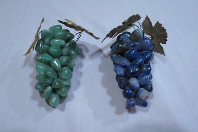 Jade and Alabaster Stone Grape Clusters Metal Leaf Semi Precious 2 Colors