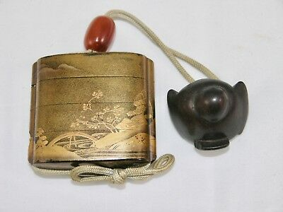 Antique Japanese Lacquer Inro  Signed w/ Coral Ojime & Bird Netsuke , Lot 546