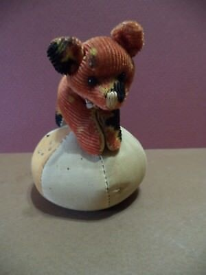 """Antique Bear On A Pin Cushion Figural Tape Measure 4"""" Japan Mohair Hard To Find"""