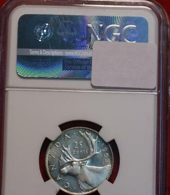 1943 Canada 25 Cents Silver Coin NGC Graded MS 65