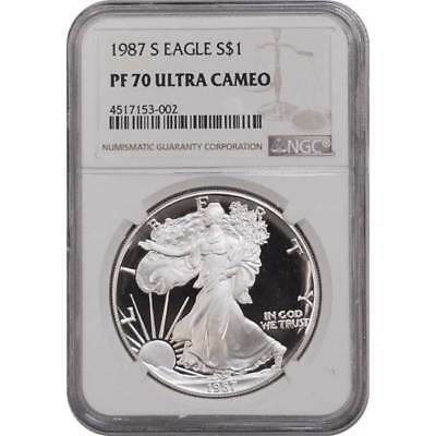 1987-S NGC PF70 Proof American Silver Eagle Silver One Dollar Coin