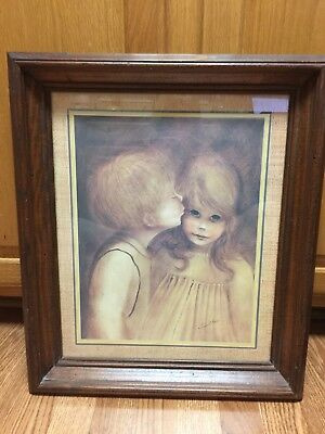 "Vtg Home Interiors Picture ""first Kiss"" Boy / Girl  Matted Wood Frame 20 X 17"