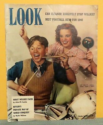 LOOK Magazine -- October 8, 1940 -- Judy Garland & Mickey Rooney -- 58 pages