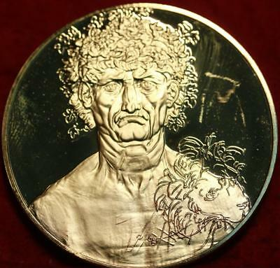 Uncirculated 2.3oz Sterling Silver Medal Man With Leaves In Hair
