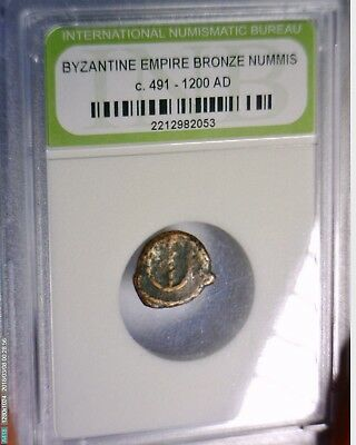 Ancient 491-1200 AD Roman Byzantine Bronze Coin in Cheap Slab Lot #20 NO RESERVE