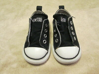 Converse All Star Black/white Velcro Tennis Shoes Baby Size 4; Guc