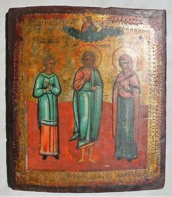 "Antique Russian Icon ""Selected Saints"". 19th Century."