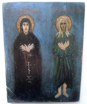 Antique Russian Icon of  'Holy Blessed Matron and Feoktist'. 19th Century.