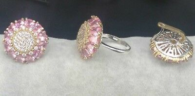 AAA Quality 925 Sterling Silver Jewelry Brazil Pink Topaz Lady Set