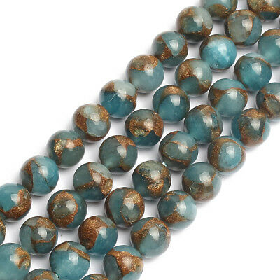 Natural Gemstone Blue Cloisonne Stone Round Loose Beads for Jewelry Making 15''