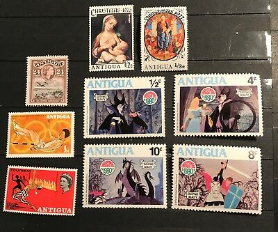 Antigua postage stamps lot of 9 old.         F