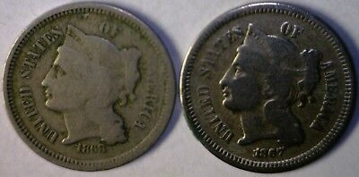 1867 & 1868 PAIR of Three Cent 3c Coins F / VF 2 Coin LOT Inv. # 2   NO RESERVE
