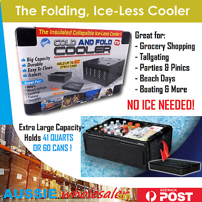 AU The Insulated Collapsible Folding Cooler Esky CHILL Chest COLD HOT ICE-LESS