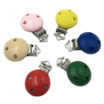 5Pcs/Lot Wooden Baby Pacifier Clip Infant Soother Clasps Holders Accessories