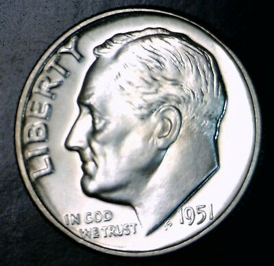 1951 SUPERB GEM PROOF + Roosevelt Silver Dime Coin FLASHY 100% BLAZING WHITE !