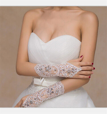 White/Ivory Crystal Wedding Bridal Glove Accessory Beaded Lace fingerless gloves