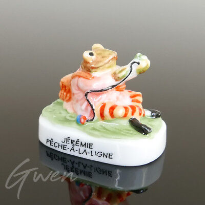 "Rare Vtg Tiny Beatrix Potter Jeremy Fisher 1.25"" Figurine Miniature Porcelain"