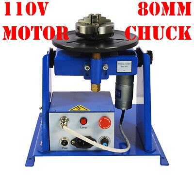 US Seller! Minitype 10KG 110V Motor Welding Positioner Turntable + 80mm Chuck