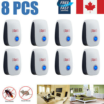 8PCS Ultrasonic Electric Spider Ant Insect Bug Mice Pest Repeller Repellent Plug