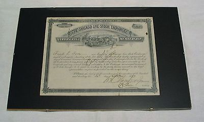 The Chicago Live Stock Exchange - Certificate of Membership 30. Oktober 1897