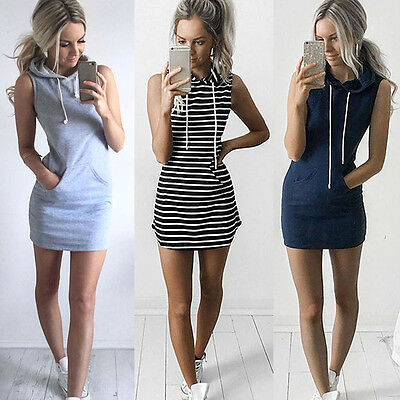 Sexy Women Boho Summer Hooded Bodycon Sleeveless Party Cocktail Mini Dress HC