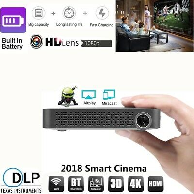 Portable DLP Android Wifi Bluetooth 4K Video Projector HD 1080P Mini Home Cinema