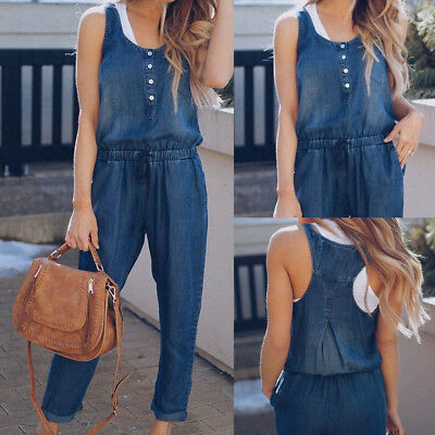 Women Casual Loose Denim Jeans Pants Overalls Straps Jumpsuit Romper Trousers