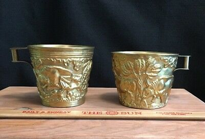 Pair 2 Greek Replica Ancient Minoan Vaphio Cups Cup Leaping/Running Bulls Greece