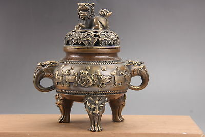 Exquisite Chinese brass hand Carved lion  incense burner  qianlong mark as191