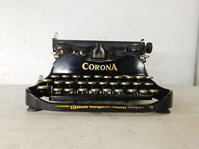 VERY GOOD COND! c1913 Antique Typewriter Black Corona No 3 Standard Folding Co