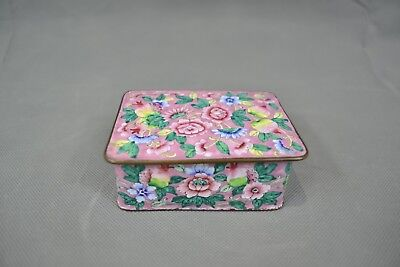 Antique Chinese Pink Flower Canton Enamel Trinket Box