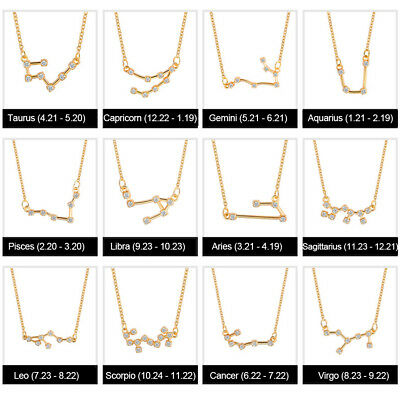 12 Zodiac Constellation Sterling Silver Zircon Pendant Necklace UK Love SR5