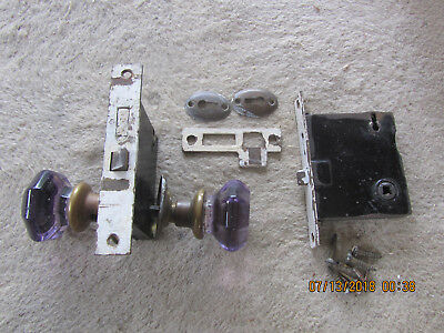 Antique Vintage Deep Purple Amethyst Violet Glass Door Knob Handle lot/bundle