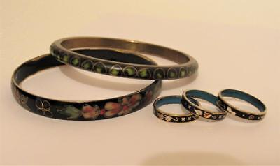 Chinese Cloisonne Bracelets Rings Lot Vintage Antique China Jewelry