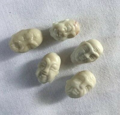Vintage Antique Chinese Hand Carved Lot Of 5 Jade Buddha Beads Pendants.16.6 Gms