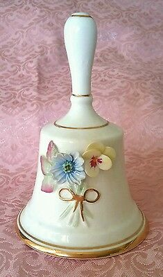 BEAUTIFUL CAMELOT FINE BONE CHINA BELL 3D FLOWERS 24K GOLD 11cm TALL EXCELLENT