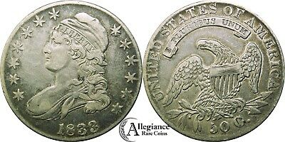 1833 50c Capped Bust Half Dollar ORIGINAL EF XF rare old type coin