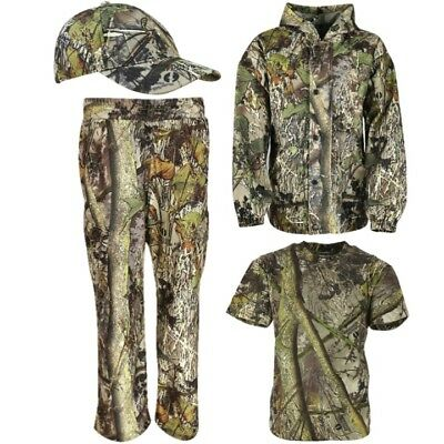 Sale! Kids Hunting Outfit T-Shirt Trousers Jacket Coat Cap Boys Hedgerow Camo