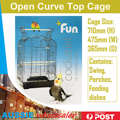 Pet Bird Open Curve Top Cage Parrot Aviary Canary Budgie Finch Perch w/ Perches