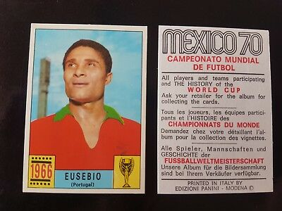 Original Genuine Panini Mexico 70 EUSEBIO Figurine Card 1970 UNUSED Red Black