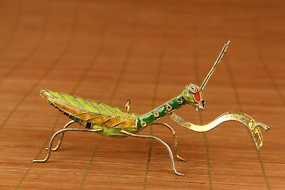Big chinese old Cloisonne Hand Carved mantis figure Statue decoration