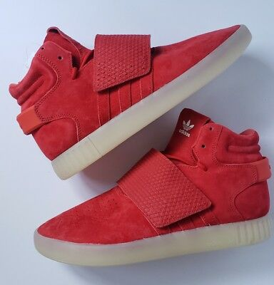 New Mens Adidas Tubular Invader Strap Red OCTOBER Shoes Suede Gum BB5039 Size 10