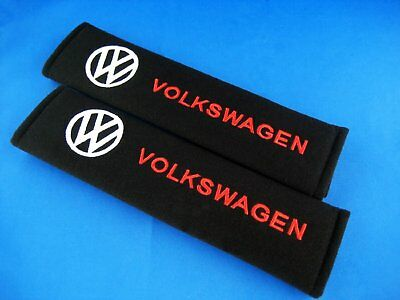 A Pair Seat Belt Shoulder Cover Soft Pads Cotton Embroidered logo VW VOLKSWAGEN